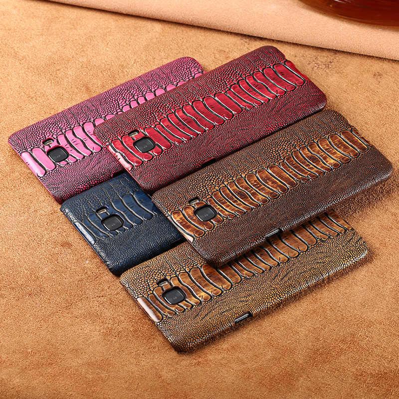 Wangcangli العلامة التجارية الهاتف حالة النعامة القدم الحبوب نصف ملفوفة الهاتف حالة لسامسونج C9 برو الهاتف حالة اليدوية مخصص معالجة