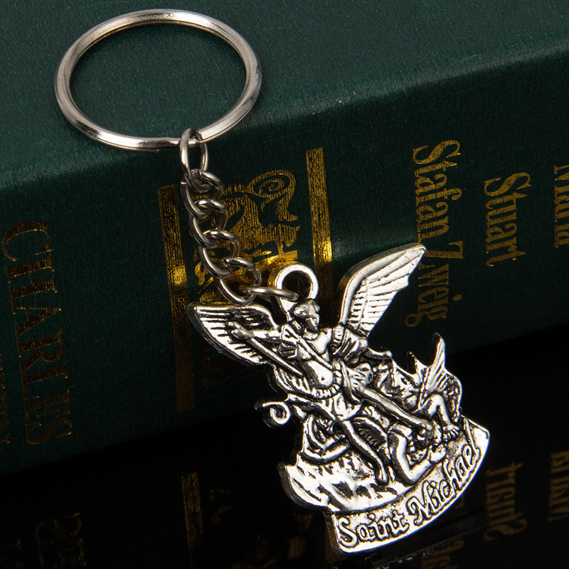 Religious Catholic Patron Saint Michael St. Michael The Archangel  Pendant Keychain Jesus Key Chain Car Holder Keys Chaveiro