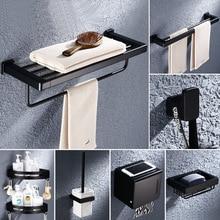 Bathroom Accessories Set Black Aluminium Rack Punch Free Towel Ring Soap Dish Hook Toothbrush Holder Metal Finish