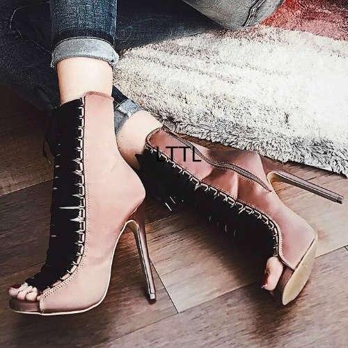 5a1eb9ec4dd49 New Stylish Design Silk Lace Up Thin High Heel Ankle Boots Women Classy  Cross Strap Peep Toe Stiletto Heel Booties Summer Boots