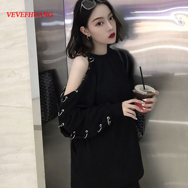 598dbeedc19ac Korean Harajuku Women Long Sleeve T Shirt 2018 Spring BF Chic Style Black  Top Off Shoulder With Hole Ring Sexy Casual T-Shirt