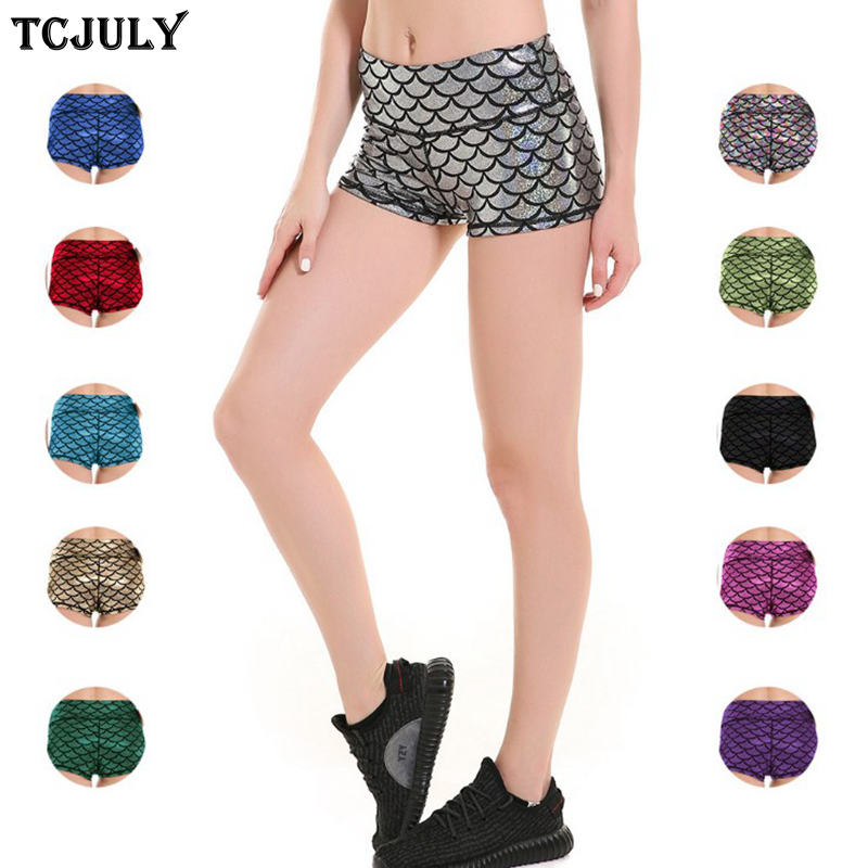 0767693929a TCJULY New Sexy Shiny Fish Scale Mermaid Patterns Printed Short Pants High  Waist Skinny Push Up Stretch Fitness Shorts For Women