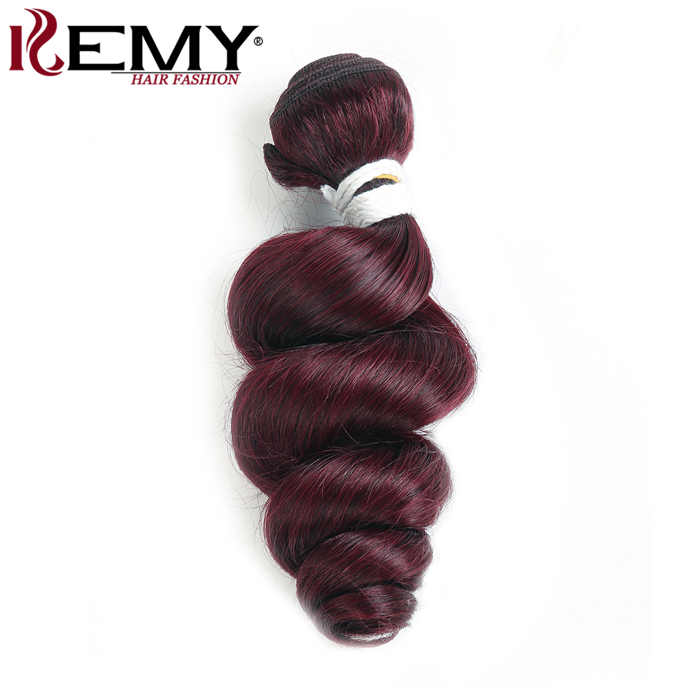 Loose Wave Human Hair Bundles Weave KEMY HAIR 1PC Brazilian Human Hair Extension 99J/Burgundy Non- Remy Human Hair Weaving