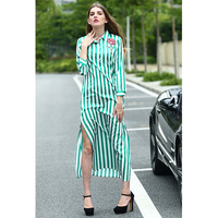 2018 Spring Xia Ladies European High-end Major Suit Foreign Trade Go A Show Stripe Embroidery Long Sleeve Longuette Vent Dress