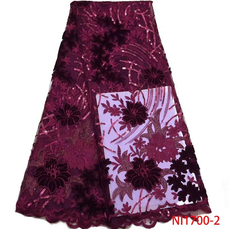 Últimas flores patrón terciopelo encaje tela alta calidad lentejuelas encaje tela francés tul malla encaje para vestido de fiesta de boda NI1700-in encaje from Hogar y Mascotas    2
