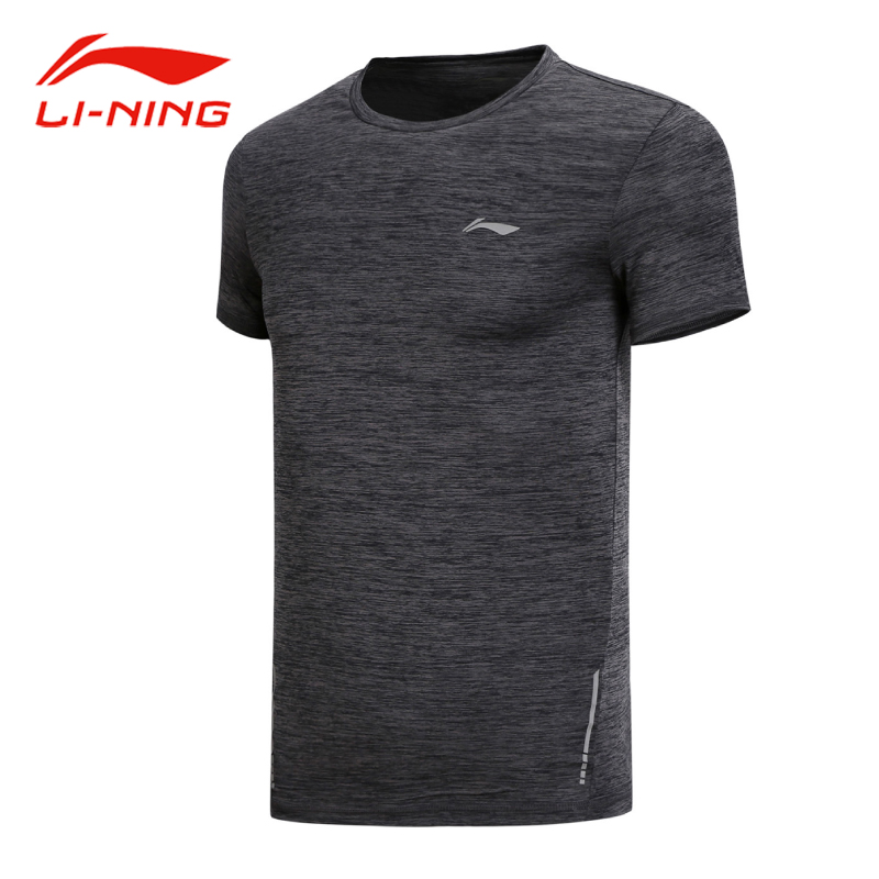 Li Ning Men 2018 Breathable Run Training Short Sleeve T-shirt Soft Comfortable Polyester Tops LiNing Stylish Sports Tees ATSN211 stylish lapel hidden solid color long sleeve polyester shirt for men