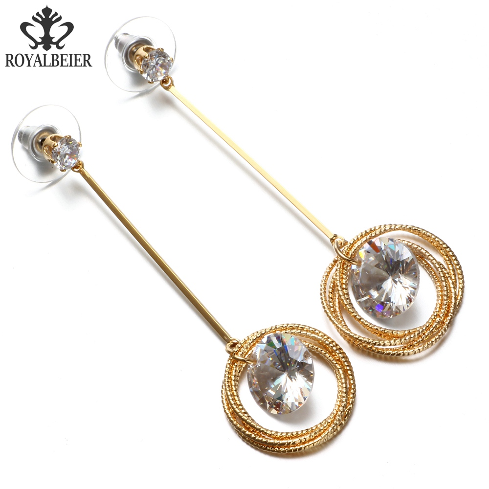 RoyalBeier 1 Pair Fashion Jewelry Round Rhinestones Crystal Earrings Female Simple Golden Circles Long Drop Earrings For Women