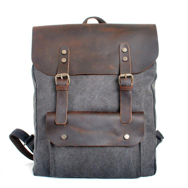 Fashion Backpack Leather Canvas Men Backpack School Bag Military Backpack Women Rucksack Male Knapsack Bagpack Mochila New 2018
