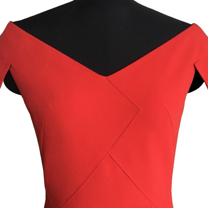 Aucun Automne V Casual Un Empire Mince Red Gaine Réguliers Mi Robes Taille De Lanon Fiesta Pleins La cou Robe Plus Spandex mollet qxwIvOn