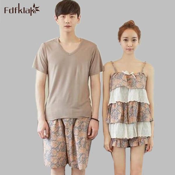 New Korea summer couple pajama sets plus size cotton pajamas homewear pyjamas  sleepwear women or men pijamas S0108 4f57ea31c