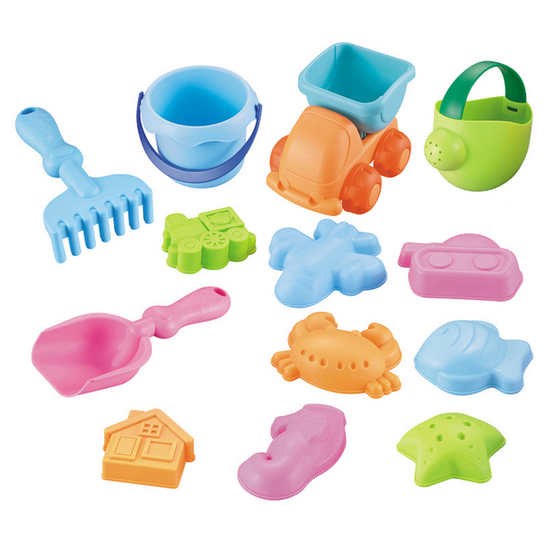 13Pcs Beach Sand Toy Set Bucket Shovels Watering Can Children Safety Soft Plastic Toys - Color Random