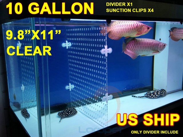 "aquarium clear acrylic divider 0.24"" holes 0.12"" thick 4pcs suction ..."