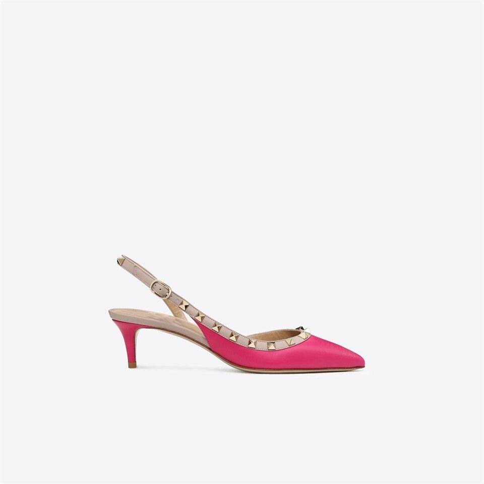 Sexy Moda Estilete rojo Alto De 2018new Remache Zapatos Las Negro Tacón Tachonado Bombas Punta Hebilla nude Mujeres Sandalias Señoras TXq6Pqn