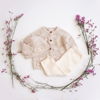 Baby Girls Wool Knitted Clothing Set 3 Pieces Sweater+Pants+Hat Princess 1 2 Year Old Longsleeve Pull Over Flowers