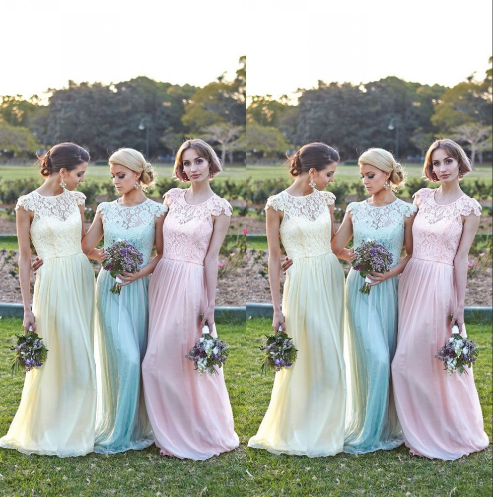 Chiffon bridesmaid dress picture more detailed picture about lace short sleeves bridesmaid gown navy bluepeachivorychampagnesilver ombrellifo Images