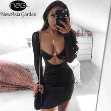 Newasia 黒メッシュサテンドレス 2019 夏のドレスの女性パーティーナイト underwired カットアウトボディコンクラブドレスセクシーなローブフェムセクシー赤