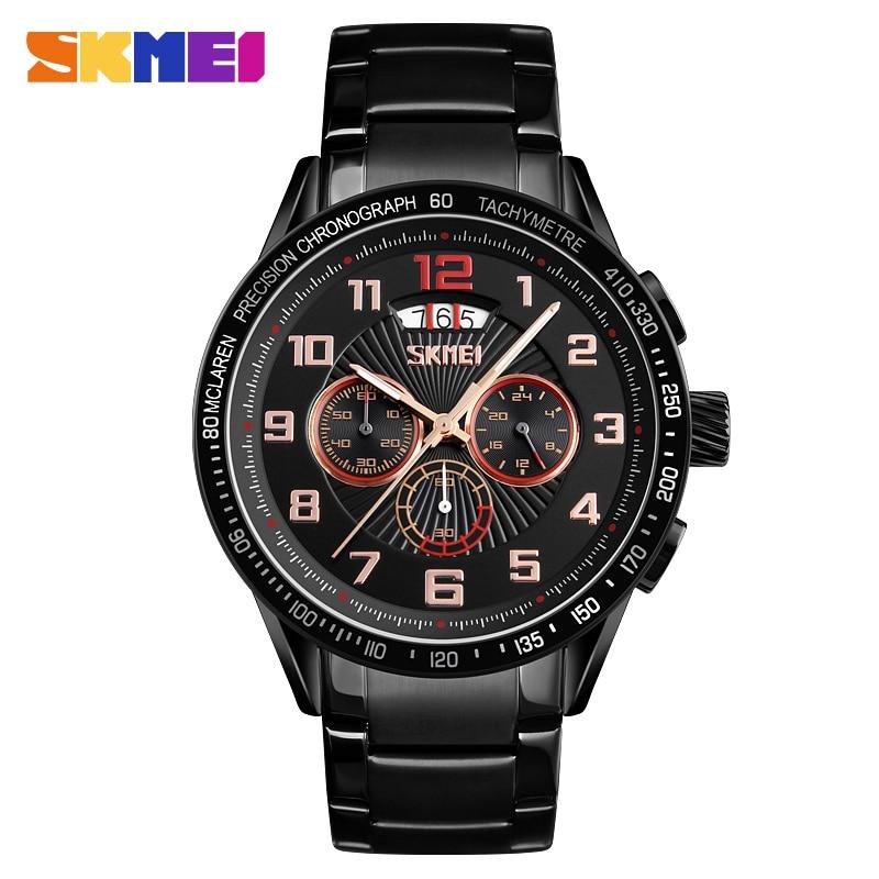 SKMEI Business Mens Watches Quartz Watch Men Clock Stainless Steel Waterproof Watches relogio masculino reloj hombre 2018 9176