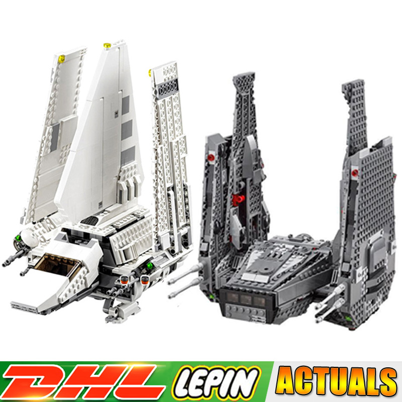 LEPIN 05006 Star War Kylo Ren Command Shuttle +05057 Imperial Shuttle Tydirium Building Blocks Compatible LegoINGlys 75104 75094 lepin 05006 star kylo ren command shuttle lepin building blocks educational toys compatible with 75104 lovely funny toys wars