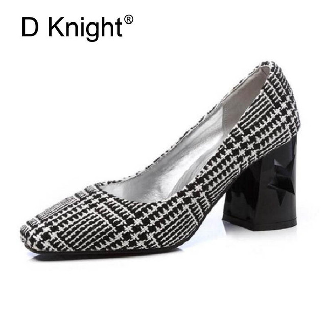 49805ee6696 Sexy Square Toe High Heels Women Shoes Elegant Ladies Evening Party Shoes  New Women Stilettos Fashion Checks Women Pumps Size 12