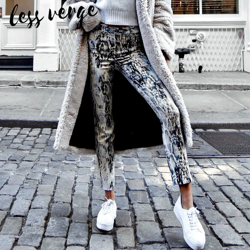 Women's Clothing Competent Lessverge Sexy Snake Print Skinny Denim Jeans Women Streetwear High Waist Female Pants Korean Punk Pencil Spring Trousers 2019 Vivid And Great In Style Bottoms