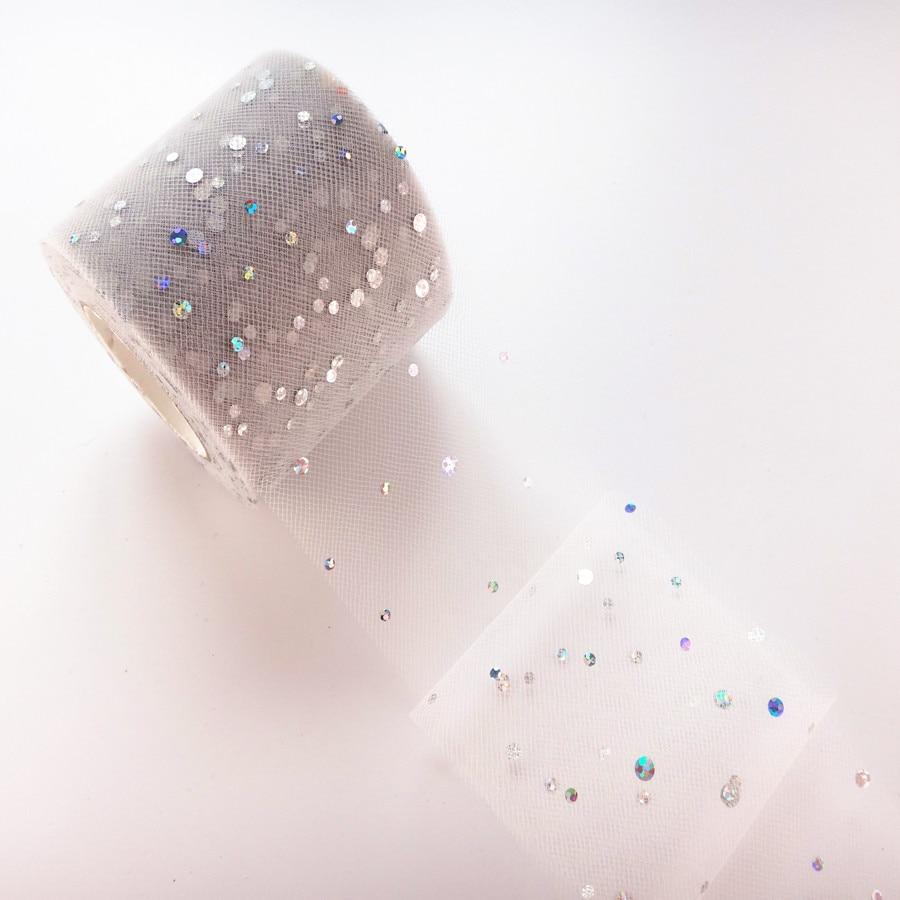 25 ярдов/рулон 6,5 см блеск рулон тюля с блестками Свадебные украшения кружева, тюль, платье-пачка «сделай сам» из органзы Baby Shower вечерние поставки - Цвет: AQ33