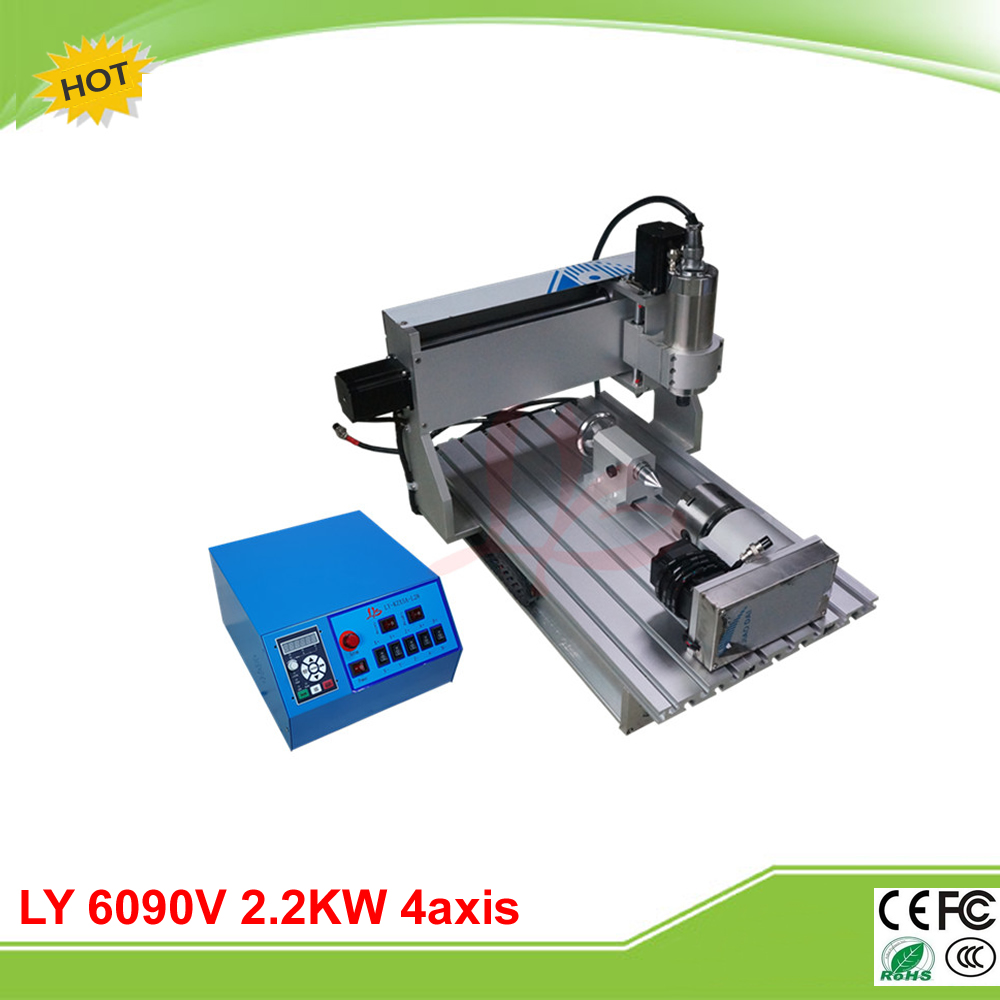 LY CNC 6090V 2.2KW 4 axis mini CNC router VFD control box grinder cnc 4th axis 6090 model