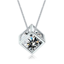 Crystals From Swarovski Pendant Ladies Exquisite Sliver Cubic zirconia Necklace Sweet Alhambra VCA Wedding Jewelry For Women(China)