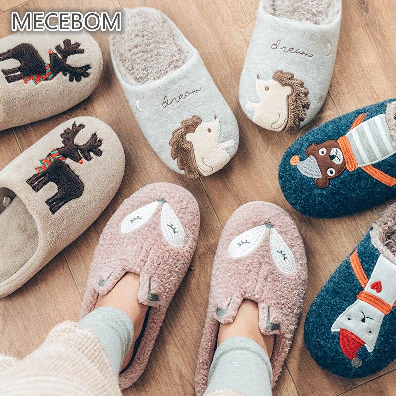 Indoor Warm Women Slippers Cute Fox Flock Autumn Winter Home Shoe For Female Girl Pink Nonslip Slippers 385w