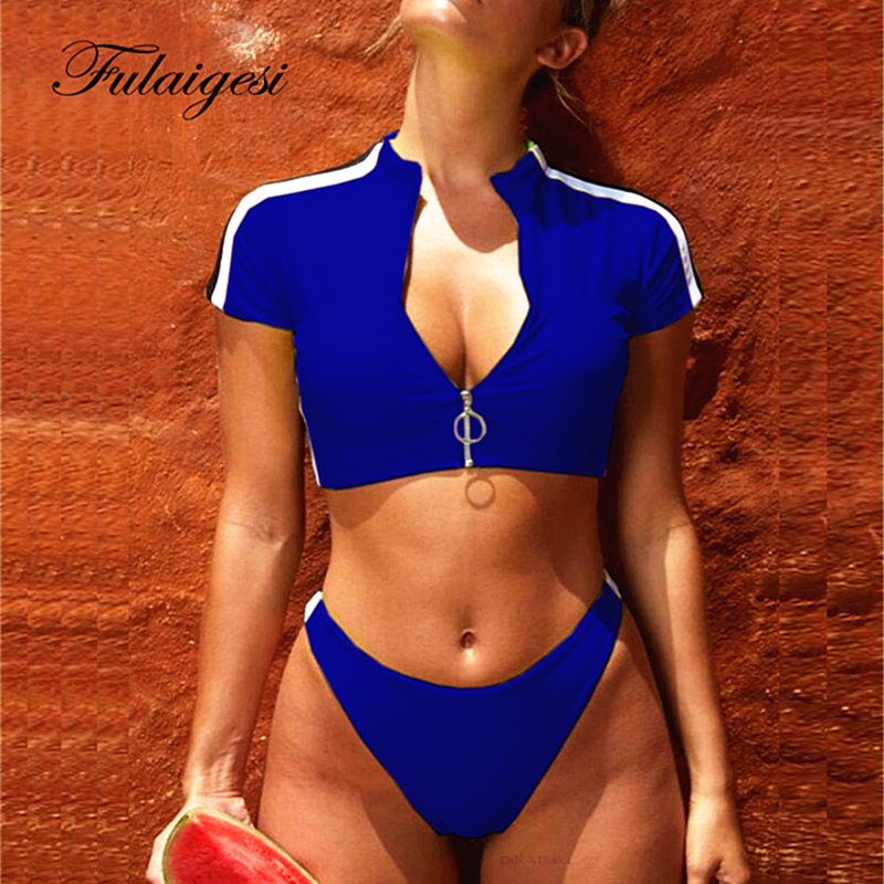 4d318df93cc Fulaigesi Two Piece Bikini sport women swimwear 2019 swimsuit sexy solid  surf zipper short sleeve swim bathing suit tankini set