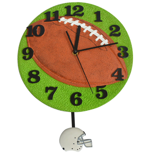 Rugby Design Wall Clock Football Pendulum Decorative Clocks Kids Room Decoration Birthday Party