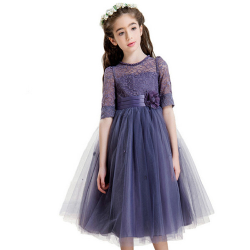 Girl party dress Christmas dress for girls 2017 Autumn  formal flower girl dresses junior girls prom gown dresses baby clothes
