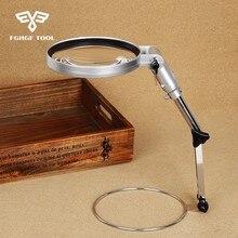 FGHGF Folding Adjustable Arm Clip-on Desk Table Big Magnifying Glass Lamp Illuminated Magnifer With LED Light Acrylic Lens