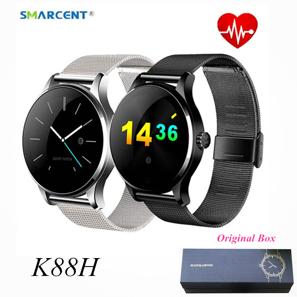 SMARCENT K88H Smart Watch Bluetooth Call Metal Leather Smartwatch Heart Rate Monitor Pedometer Smartwatch Phone For Android IOS