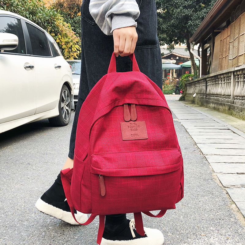DCIMOR Fashion Plaid women backpack student schoolbag for Teenage girls cotton Travel bag Female Bookbag Mochilas for college image