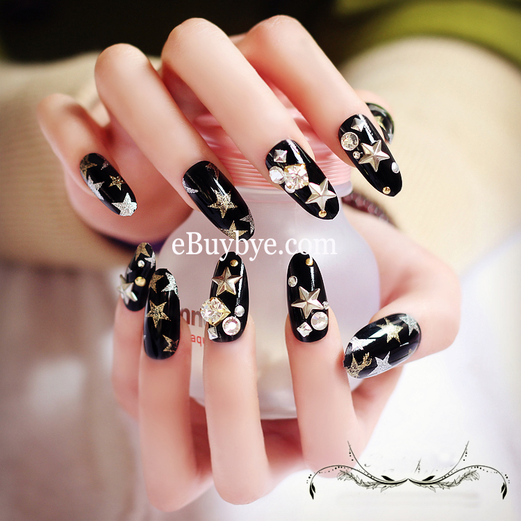 24PCS Fashionable Full Cover Stiletto Nails with 3D Jewelry Unique ...