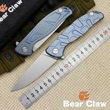 Garra de oso F95 D2 cuchillo plegable de acero patrón y S-patrón con titanio mango del cuchillo que acampa al aire libre bolsillo táctica EDC herramienta