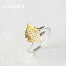 Hot Sale Exquisite Elegant Temperament Apricot Leaf Opening Ring Anti-allergic 925 Sterling Silver Jewelry      SR46