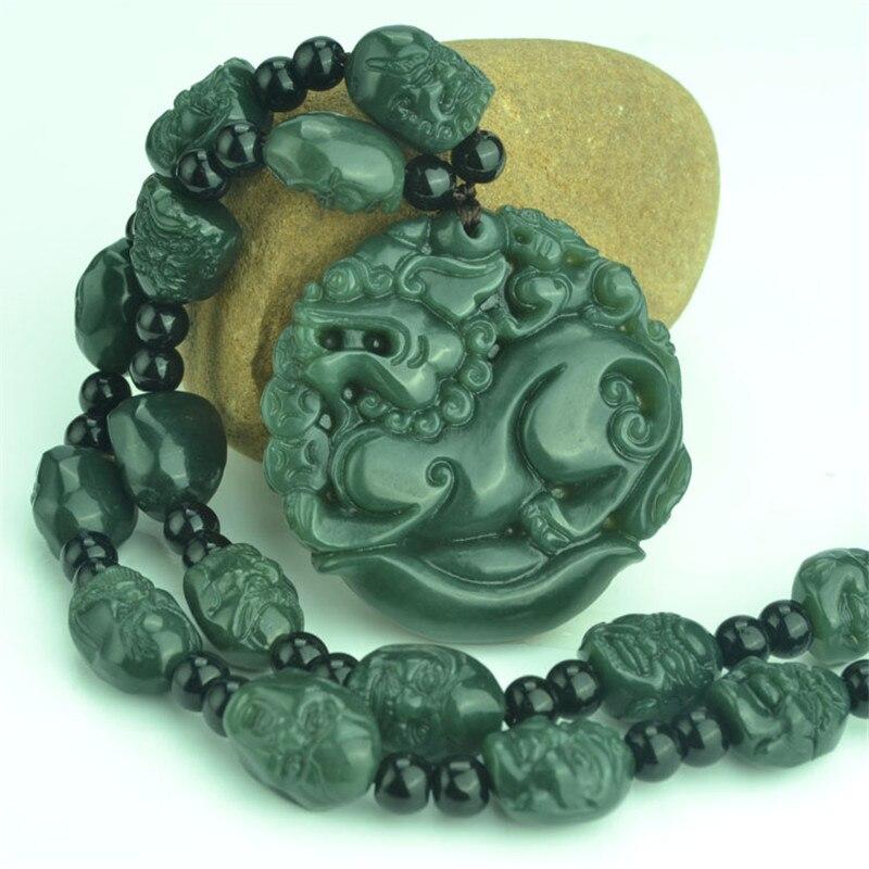 Naturel vert Hetian Jades pendentif 3D sculpté PIXIU + 18 Arhat têtes perles collier pendentifs hommes amulette néphrite Jades bijoux