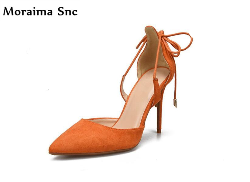 Moraima Snc Newest sexy women Rome type sandals pointed toe Ankle Cross-tied vintage velvet sexy high heel female casual shoes fashion sexy newest flock cross tied