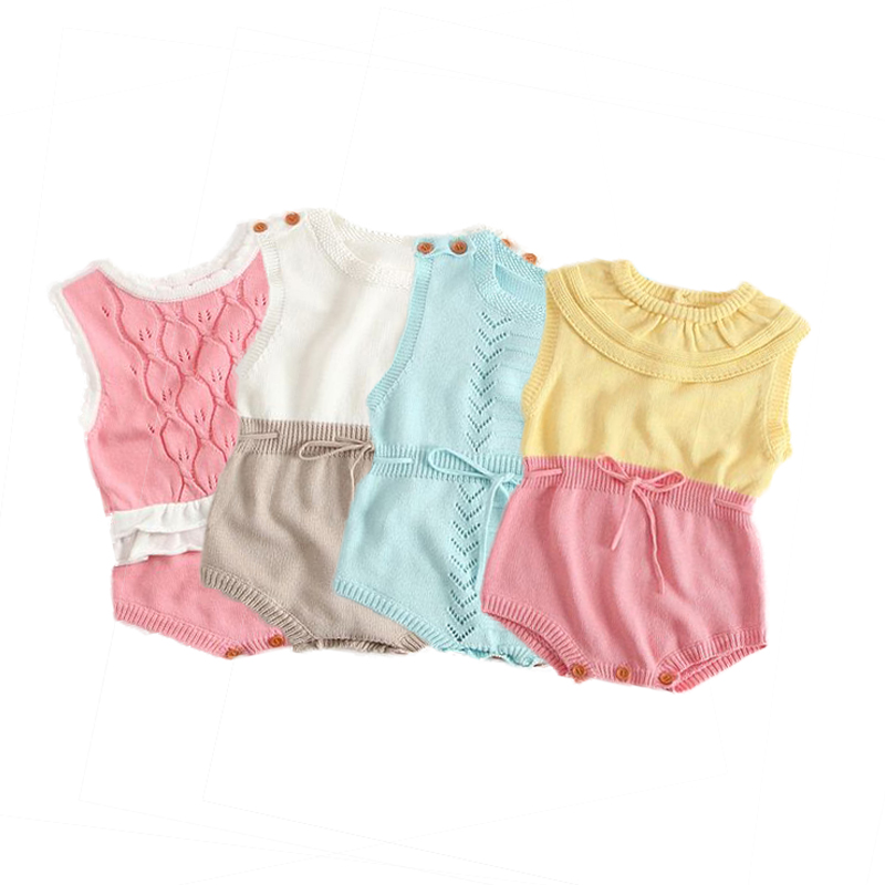 Summer Knitted Baby Rompers Sweet Infant Jumpsuit Overalls Ruffles Princess Newborn Clothing  Baby Girls Rompers Kids Clothes lovely 2017 baby girls infant rompers long sleeve jumpsuits ruffles princess girl sweet knitted overalls infant romper 9 36m