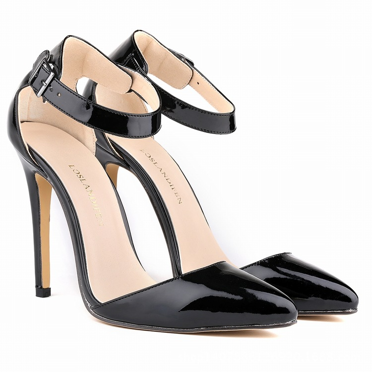 New fashion pointed toe high heels shoes woman sexy women pumps ankle strap party wedding summer  leather fashion new spring summer med high heels good quality pointed toe women lady flock leather solid simple sexy casual pumps shoes
