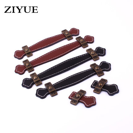 2PCS/LOT Vintage Leather Zinc Alloy Cabinet Knobs and Handles Brown Black Kitchen Cupboard Drawer Pull Handle Single Hole 10pcs pure copperkitchen cabinet handles and knobs black furniture handle for kitchen cabinet drawer pull 96mm 128mm single hole