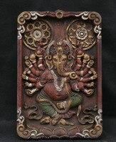 wedding decoration 9 Old Tibet Wood Painting 16 Arms Ganesa Ganesha God Hang Tangka Thangka Mural