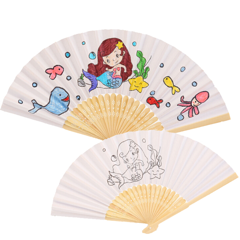 Handmade Funny DIY Drawing Toys Blank Paper Fan For Children Painting Kindergarten Creative Toy