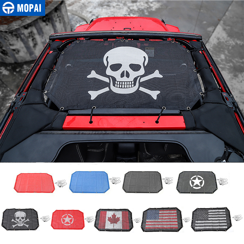 MOPAI 2 Door Car Roof Mesh Bikini Top Sunshade Cover UV Sun Shade Mesh for Jeep Wrangler JK 2007-2017 Car Accessories Styling(China)