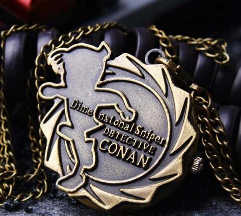 Vintage Bronze Animation Cartoon Detective Conan  Quartz  Pocket Watch Necklace Pendant Women Men Kids Gift