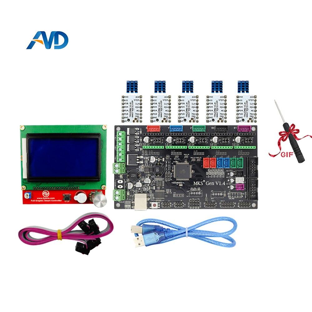 все цены на MKS Gen V1.4 control board +12864LCD+ TMC2208  And Heatsink stepper motor compatible with Ramps1.4/Mega2560 R3 3D printer parts онлайн