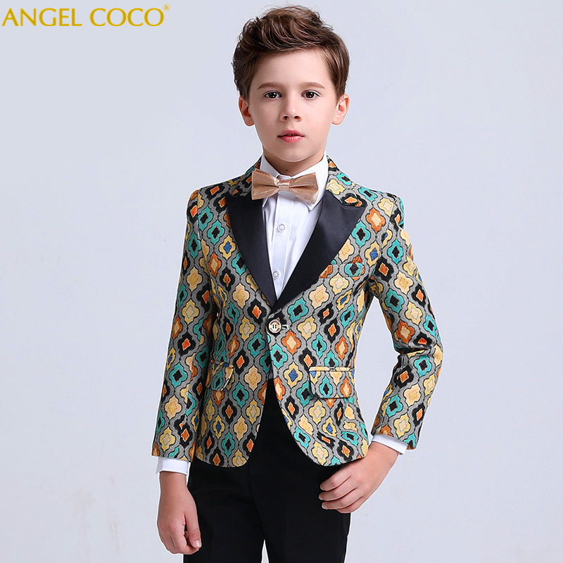 Boys Suits For Weddings British Wind Stage Performance Hosted Catwalk Print Men' Boys Clothing Blazer Costume Garcon Menino elk print pattern boys clothing blazer catwalk children s piano costumes hosted clothes thick winter boys suits for weddings set