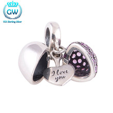 Letter I Love You Silver Heart Charms With Purple Stone Genuine Silver 925 Fit Diy Chain