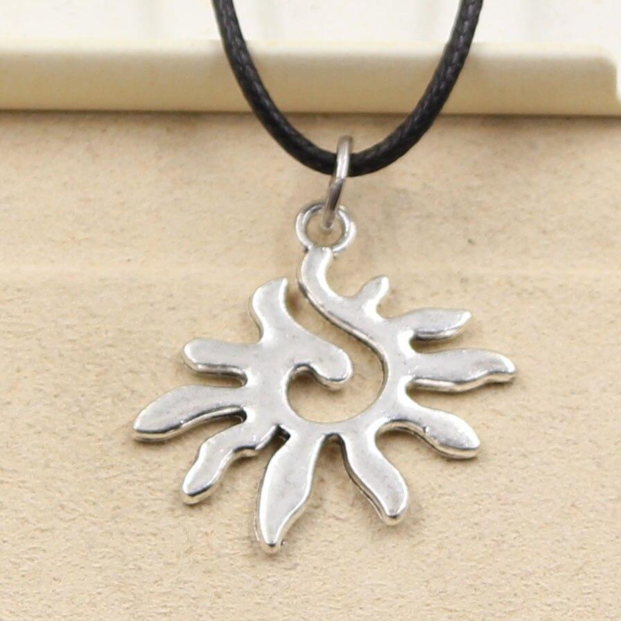 2d4687f93964 Nouveau Mode Tibétain Argent Pendentif soleil Collier Ras Du Cou Charme  Noir En Cuir Cordon Prix Usine Main bijoux